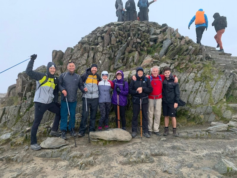 Team photo at the top of Snowdon