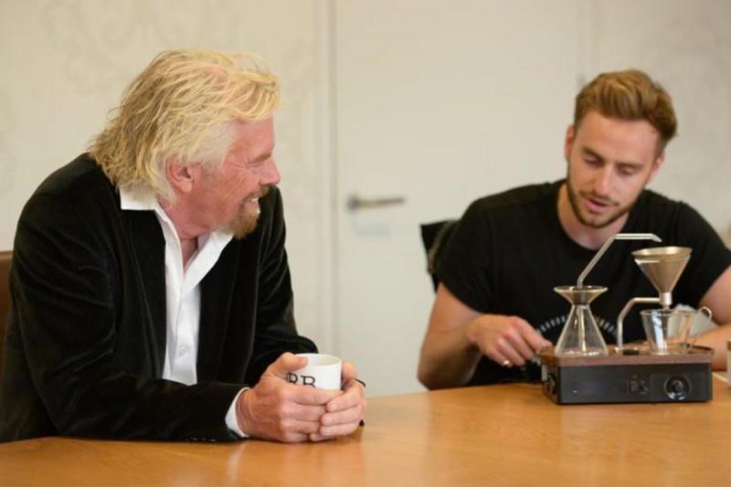 Josh Renouf explaining the barisieur to Richard Branson