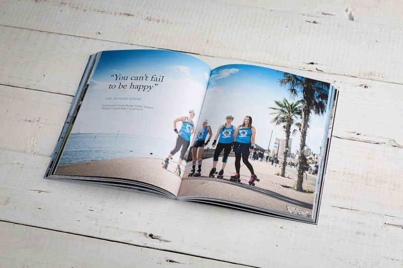 An open page of salt magazine of rollerskaters