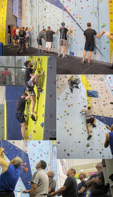 The Ruark team at Basildon Sports Centre's climbing wall