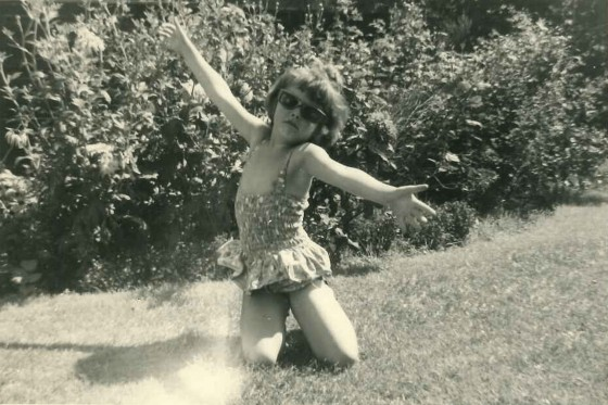 A young Lorraine playing in the garden