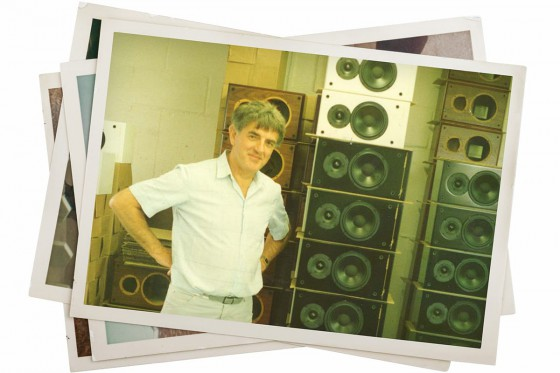 Brian O'Rourke with stack of Ruark Swordsman speakers